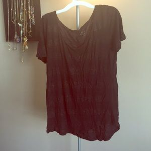 Black and gold shimmer striped LOFT tee